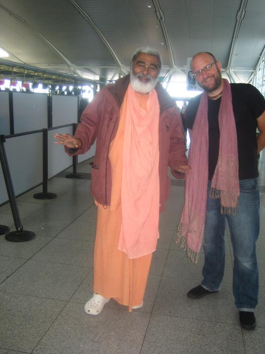 Sadhu Maharaja and Tarun Govinda at the Airport